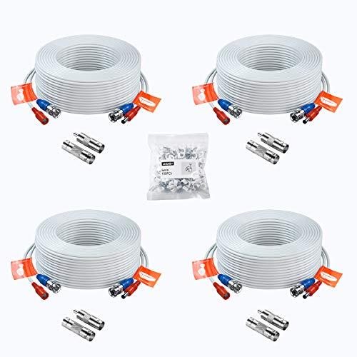 ZOSI 4X 18,3 Meter Video Kabel BNC Kabel Verlängerungskabel für DVR Videoüberwachung System, Mit BNC RCA Adapter, Weiß