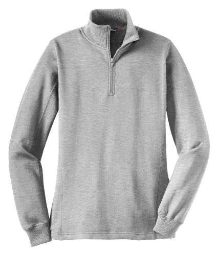 Sport Tek Ladies 1/4 Zip Sweatshirt-S (Athletic Heather)