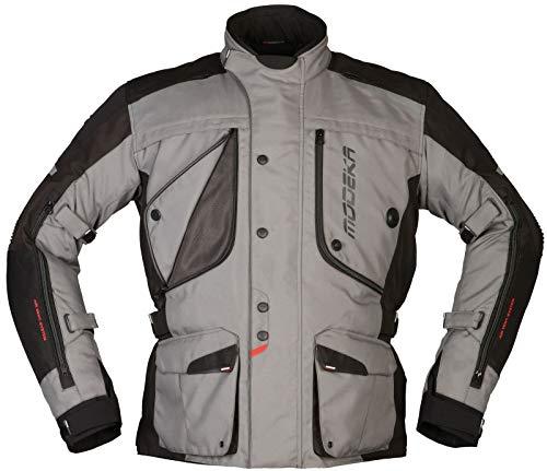 Modeka Motorradjacke AERIS grau schwarz wasserdicht Thermofutter mit Protektoren, 3XL