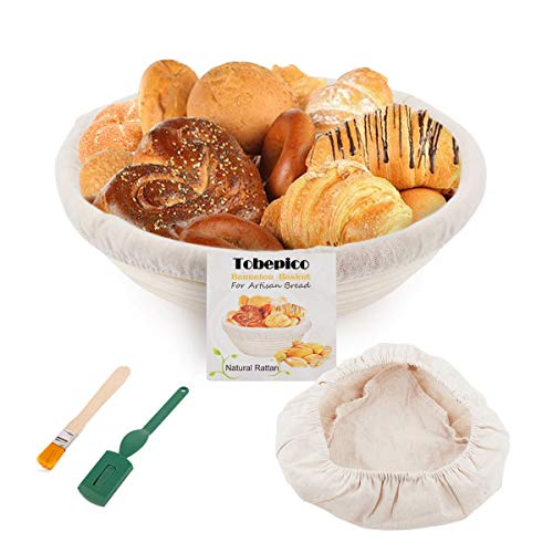 Bread Proofing Basket 10' Round - Tobepico Brotform for Bread and Dough [Free Brush] Professional & Home Bakers Bread Make Proofing Rising Rattan Bowl (1000g Dough) + 1 Free Liner + 1 Bread Lame