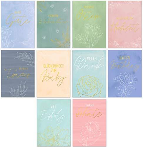 Postkarten-Set mit 10 schönen Karten Colorfull - Sprüche Grußkarten Gold Zitaten Lebensweisheiten Motivationskarten verschiedene Anlässe - Erfolg, Schatz, Trauer, Baby, Vielen Dank