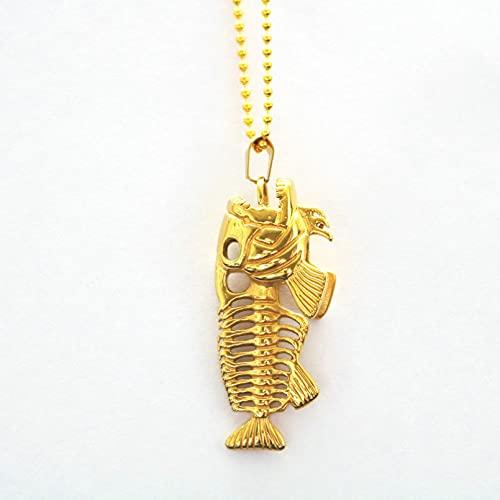 WDBUN Collar Colgante Collar de Espina de pez Dorado de Acero Inoxidable Colgante de joyería para Hombres Navidad Día de la Madre Día de San Valentín cumpleaños Regalo
