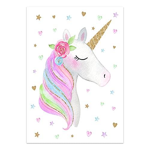 Kfbtbh Póster de Unicornio Imagen de habitación Infantil Arte de Pared vivero arcoíris Lienzo impresión nórdica Chico decoración de Dormitorio Pintura para habitación de bebé 40x50cm