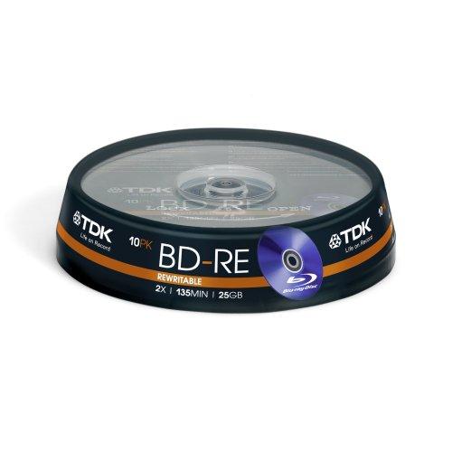 TDK 10 x BD-RE 25GB - BD-RE vírgenes (2X, Caja para Pastel, 211g, 137 x 137 x 30 mm)