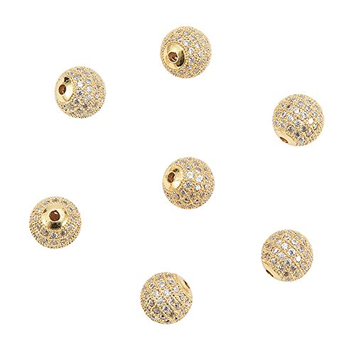 NBEADS 10 Pcs 10mm Golden Brass Cubic Zirconia Beads, Clear CZ Stones Micro Pave Setting Disco Ball Spacer Beads, Round Bracelet Connector Charms Beads for Jewelry Making
