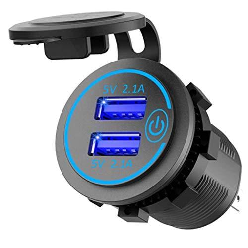 YLHXYPP Cargador rápido dual USB de 4,2 A, con interruptor de enchufe de corriente, impermeable, doble USB para autocaravanas, motocicletas y camiones (color: A)