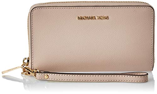 Michael Kors Leather Wristlet Women's Wristlet, Pink (Soft Pink), 2.5x18x10 centimeters (B x H x T)