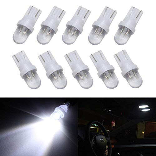 iJDMTOY (10) Xenon White Single-Emitter 1-LED 168 175 194 2825 W5W T10 LED Replacement Bulbs Compatible With Car Interior Lights, Map Lights, Dome Lights, Foot Area Lights, Trunk Area Lights, etc