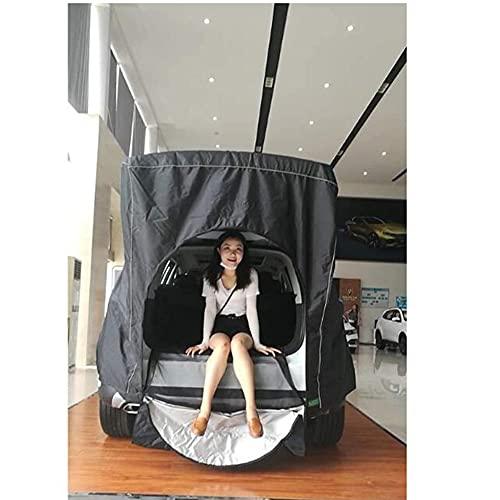 Cakunmik Tienda de automóviles Camping Transpirable, de una Sola Tienda de campaña Coche, Dimensional y Resistente a la Humedad, fácil de aplicar Adecuado para Modelos SUV, Negro 160 * 130 cm