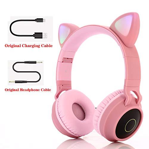 Bluetooth over-ear koptelefoon, over-ear koptelefoon Opvouwbare headset Actieve ruisonderdrukking Cat ear-koptelefoon Premium oplaadbaar HD-geluid voor school/pc/mobiel -,Pink