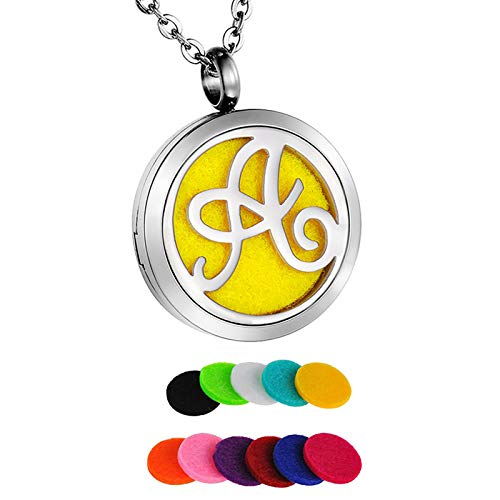 HooAMI Monogram A Aromatherapy Essential Oil Diffuser Necklace Locket Pendant with 11 Refill Pads