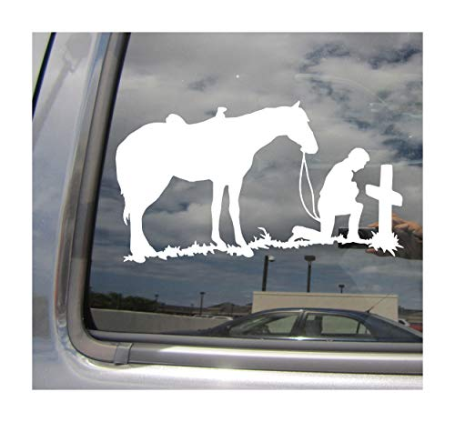 Right Now Decals Cowboy & Horse Praying at Tombstone - Western Cars...