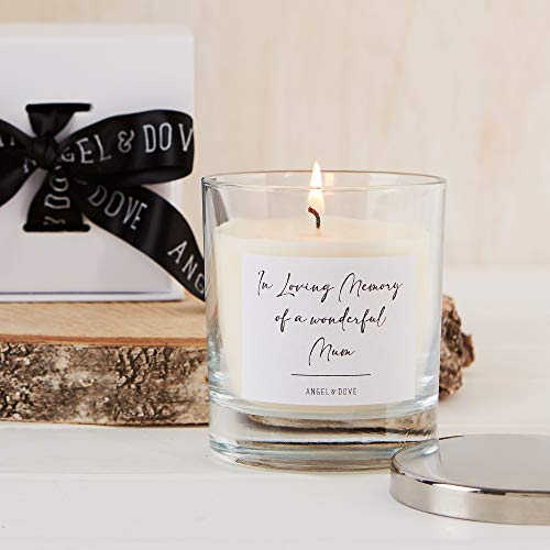 ANGEL & DOVE 'in Loving Memory of a Wonderful Mum' Gift Boxed Remembrance Candle with Silver Lid