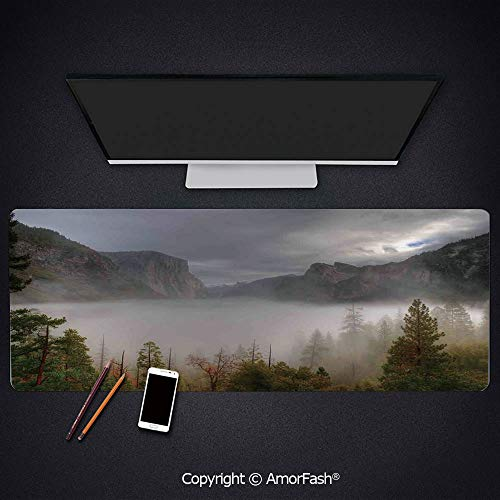 Large Mouse pad with Premium-Textured Cloth,Non-Slip Rubber Base,31.5'x15.8',Yosemite,Yosemite Valley Autumn View with Dark Clouds Heavy Haze Rainy Day Landscape Print,Green Grey