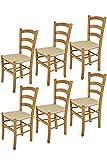 Tommychairs - Set 6 sedie modello Venice per cucina bar e sala da pranzo, robusta struttura in legno di faggio color rovere e seduta rivestita in tessuto colore canapa