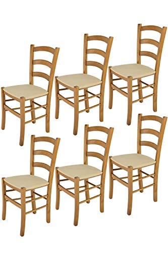 Tommychairs - Set 6 sillas Venice para Cocina y Comedor, Estructura en Madera de Haya Color Roble y Asiento tapizado en Tejido Color cáñamo