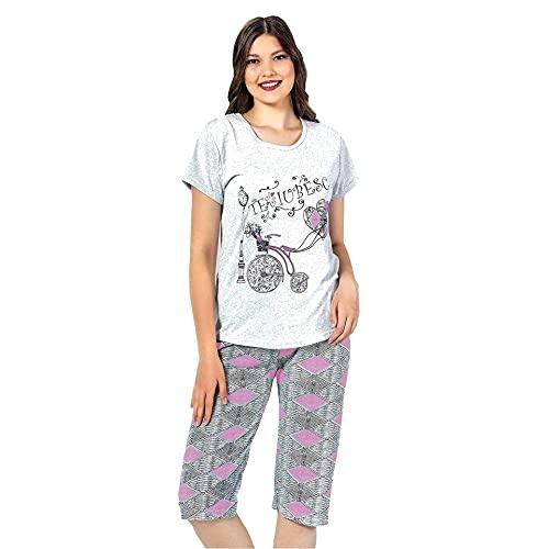 Sena Rosa Pijama Mujer Pirata Pijama Dos Piezas Pijama Camiseta Manga Corta y pantalón Pirata Pijama algodón de Primavera y Verano.