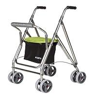 Andador para personas mayores | Rollator de aluminio con asiento | Andador de aluminio plegable | Color pistacho
