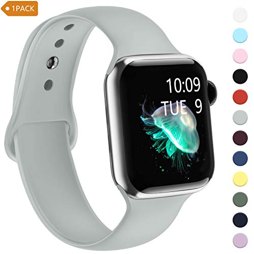 iGK Sport Band Compatible with Apple Watch Band 42mm Series 5, Silicone Replacement Wristband for Apple Watch Series 4/3/2/1 38mm 40mm 42mm 44mm for Women Men Grey 38/40mm Small