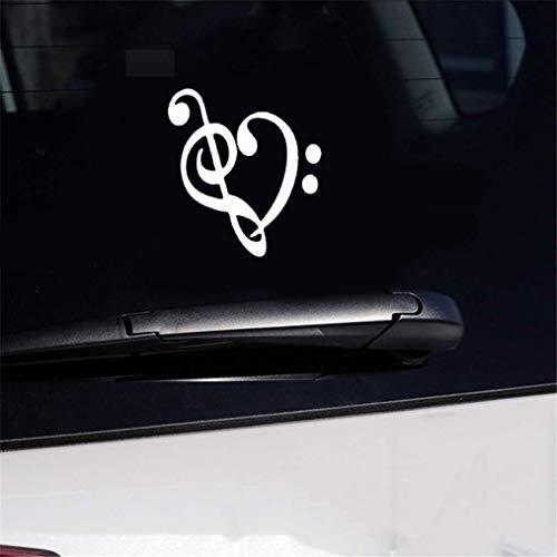 Adesivi Bianchi Auto 13x14 cm musica cuore chiave di violino moto decorativo auto adesivo se decalcomanie per autoadesivo della finestra del computer