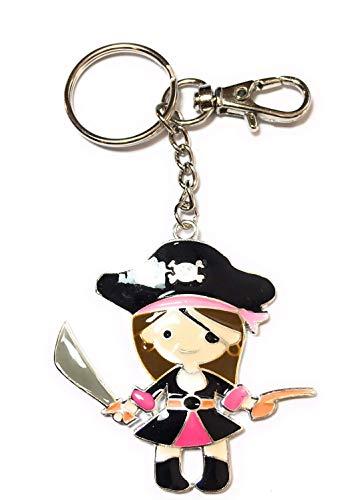 FizzyButton Gifts Emaille Meisje Piraat Handtas Bedel Sleutelhanger