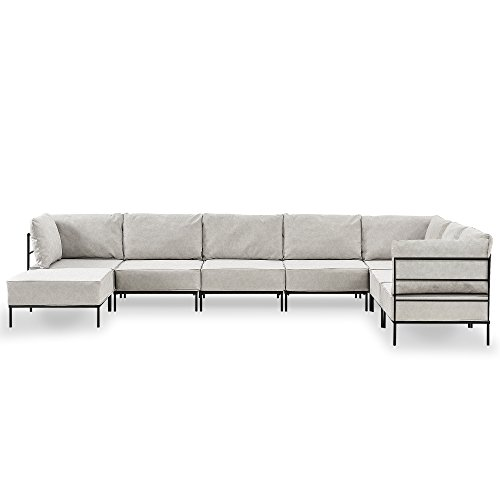[en.casa] Sofá modular adaptable a diferentes actividades y necesidades - crema - 6 plazas - decorativo - con varios armazones y cojines tapizados - máximo confort - imitación ante