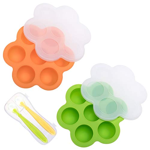 Tosnail 2 Pack Silicone Baby Food Storage Container with Lids Ice Ball Mold - BPA Free Bright Orange and Green - Bonus 2 Silicone Baby Spoons