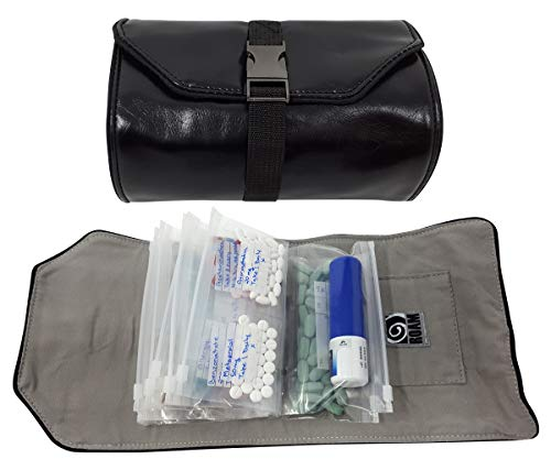 Wellness Travel Pack - The Pill Organizer Wallet, Fits All Size of Medications, Extra Small to Extra Large, Holds Pills, Drops, Sprays & Ointments, Secure Zip Bags, Customizable Write On Label (Black)