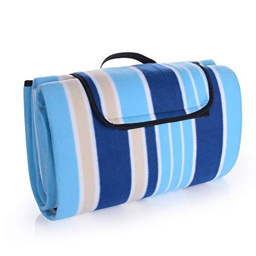 EKKONG 200 x 200 cm Picknickdecke XXL Stranddecke aus Fleece Wasserdicht groß Faltbar Leicht mit Tragegriff Matte Decke für Camping Picknick Reise (Blue Strap)