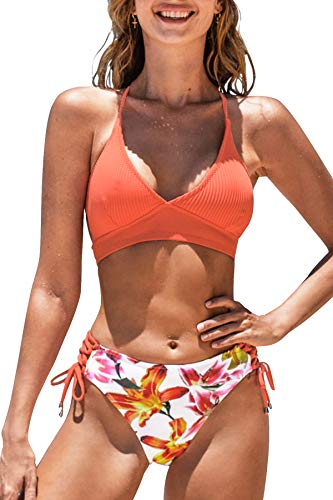CUPSHE Women's Bikini Swimsuit Lace Up Floral Printed Two Piece Bathing Suit, M