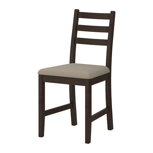 IKEA Stuhl-LERHAMN, schwarz, braun, Ramna beige
