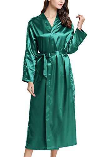 YAOMEI Damen Morgenmantel Bademäntel Satin Kimono, Lang Spitze Nachtwäsche Nachthemd Robe Kimono Negligee Schlafanzug für Spa Hotel Braut Brautjungfer, Party (Büste 108cm, 42,52 Zoll, Grün)
