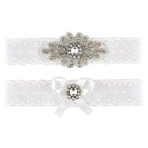 CHIC DIARY Hochzeit Spitze Strumpfband Strass Schleife Hochzeitsstrumpfband Beinband Hochzeitskleid Brautkleid Accessoires