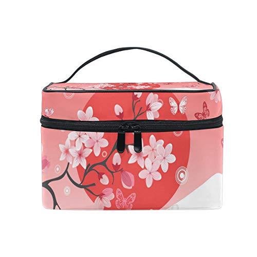 Trousse de maquillage avec fermeture éclair Cosmetic Bag Clutch Fujiyama Sakura Rouge Soleil Fleur Peinture Monocouche Portable Couche De Stockage De Voyage Sac Pochette Carré pour Femmes dame