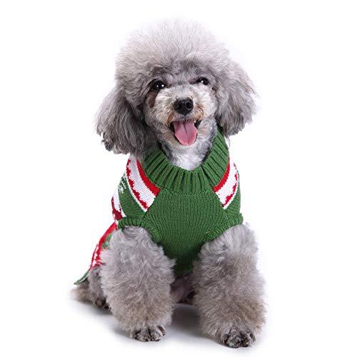 OUYAWEI Home Pet Süßes Strickkleid mit hohem Kragen, für Weihnachten, Geburtstag, lustig, für Hunde und Katzen, Grün, Größe S