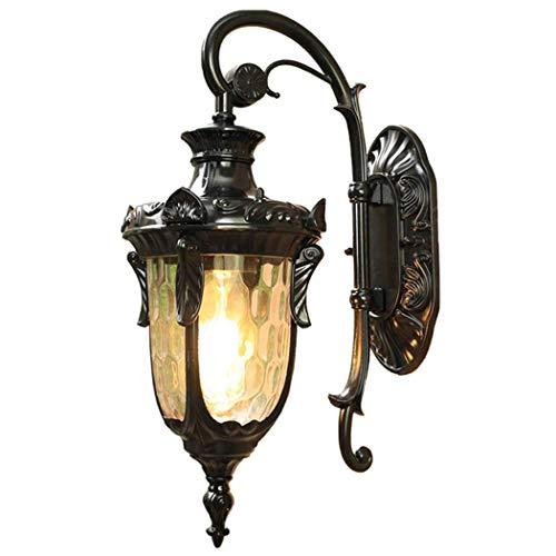 Rustikale Außen-Wandleuchte, IP54 Wasserdicht Wand-Außenleuchte, Wandlaterne für den Außenbereich, Ambiente Beleuchtung,4-seitig Glas Lampenschirm, Aluminium, Schwarz, 26 × 45 × 21cm, E27 - Max.60W