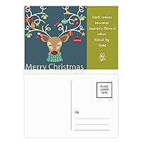 クリスマスギフト松葉杖ヘラジカベル祭パターン 詩のポストカードセットサンクスカード郵送側20個