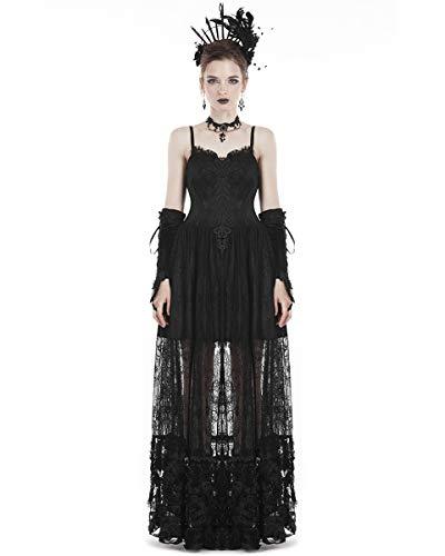 Dark In Love - Vestido de novia gótico, largo, encaje negro, estilo steampunk, vintage, victoriano, partido, para graduación Negro Negro ( M - Mujer Talla 38