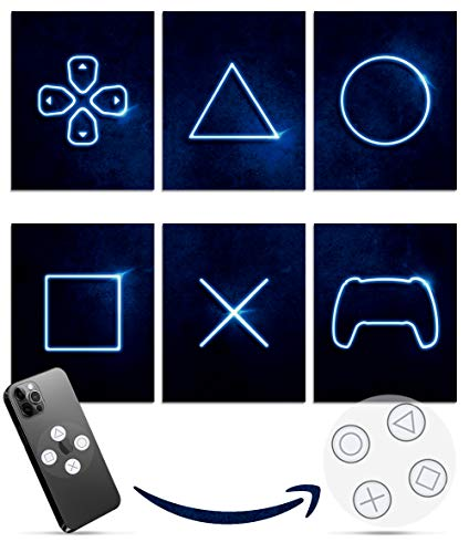 Playstation 5 Video Game Room Decor - Set of 6 & Free Decal - Gamer Room Decor For Boys & Girls - Gaming Posters For Teen - Video Game Wall Art - Modern PS4 Wall Art - 8x10 Inch UNFRAMED