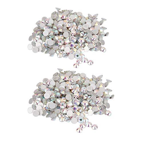 D Dolity - Juego de 2 piedras preciosas, forma redonda, cristal, parte trasera, joyas, accesorios para pulsera, collar, cortina, uñas, teléfonos móviles