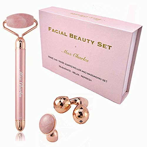 3-in-1 Electric Rose Quartz Jade Roller and Face Massager Set - Best Jade Roller for Face Care - Rose Quarts Jade Face Roller Massager, Eye Massager and 3D Face, Head, Arms and Neck Massager