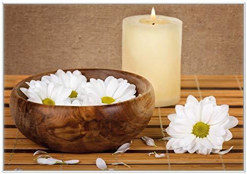 Wallario Wandbild Stillleben - Kerzen und Blumenblüten in Holzschale in Premiumqualität mit weißem Rahmen, Größe: 70 x 100 cm