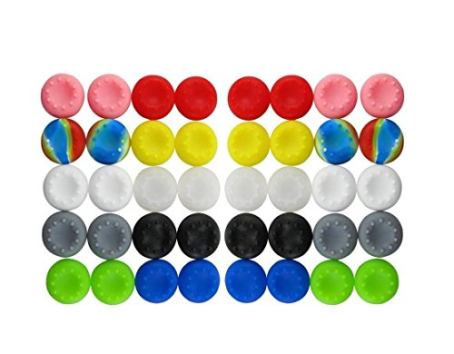 BeautyMood 40pcs Colorful Silicone Accessories Replacement Parts Thumb Grip Cap Cover For PS2, PS3, PS4, PS5, XBox 360, XBox One Controller