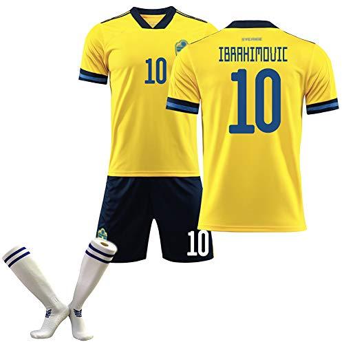 Manga Corta de fútbol, Ibrahimović10 Larsson11 2020 European Cup Swedish Home and Away Equipación de fútbol para niños Adultos, Malla Transpirable, Limpieza repetible-yellow10-16