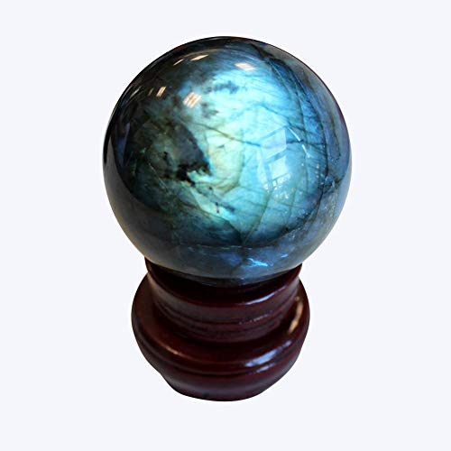 TOMACIÓN Decoración para el hogar Bola de Cristal - Cristal Natural Puro Labradorita Piedra Joya Artesanal - Gris Piedra de Luna Azules Piedra Preciosa Esfera de orbe