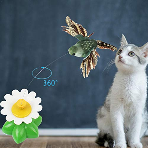 2 Stück Elektrisches Rotierendes Fliegendes Vogel-Katzenspielzeug, Lustige Blumen Grünes Blatt Interaktives Spielzeug, 360 Grad Rotierendes Kratzspielzeug Für Katzen (Farbe Zufällig)