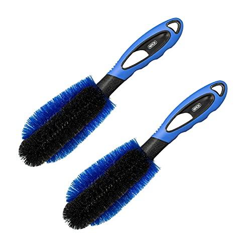 Nirox Juego de 2 Cepillos para Llantas Azul - Cepillo Ruedas de Lavado de Llantas Que Protege la Superficie - Cepillo de Limpieza para Coche, Moto y compañía - Potente Cepillo Limpiar Llantas