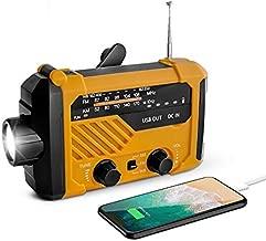 Emergency Weather Alert Radio, USFY Portable Solar Powered Hand Crank Radio, 4 Way Charging, SOS Alarm, LED Flashlight/Reading Lamp, AM FM NOAA Radio - Orange
