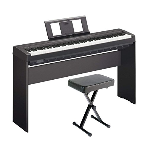 Yamaha P71 Digital Piano (Amazon Exclusive) Deluxe Bundle with Furniture Stand and Bench