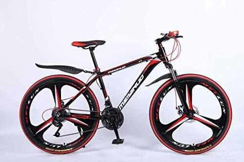 CENPEN Bicicleta de montaña 26 en 24 velocidades para adultos, aleación de aluminio ligera, marco completo, suspensión delantera de rueda para hombre, freno de disco (color negro, tamaño: A)
